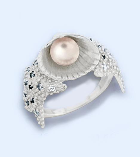 Кольцо  женское серебряное Ракушка с жемчугом  к5430