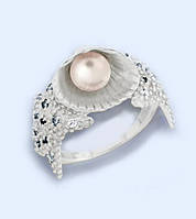 Кольцо серебряное Ракушка с жемчугом  к5430