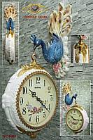 """Часы настенные. Европейский стиль """"Двухсторонний декоративный красочный павлин""""."""