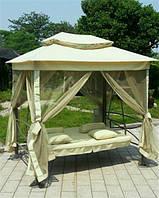 Садові гойдалки, качели до 250 кг + палатка з москітною сіткою, фото 1
