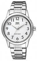 Мужские часы Q&Q Q860J204Y серебристые с белым циферблатом водозащитные, фото 1