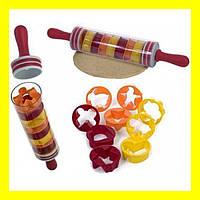 Скалка для раскатки теста с формочками для фигурного печенья Roll and Store Pin
