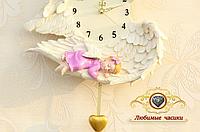 """Часы настенные """"Спящий ангелочек. Девочка.""""."""