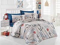 Турецкое Двуспальное-Евро постельное белье Eponj Home AHOY BEJ SV10