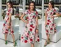 Стильное платье А-силуэта с цветочным принтом