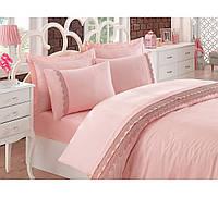 Изысканное сатиновое постельное белье ЕВРО размера с вышивкой Cotton Box BELEZZA PUDRA CB07