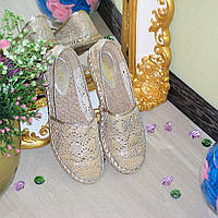 """Эспадрильи """"Gold """" Материал: обувной текстиль Цвет: золото"""