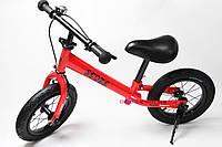 Беговел SENZE красный с тормозом, подножкой и звоночком, надувные колеса OR