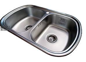 Кухонная стальная мойка с 2 чашами и ковриком (77*49*18 cм) Galati Vayorika 2C Textură 8490, фото 3