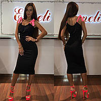 Платье тм Enneli размер S M L ткань микромасло цвет черный, т-синий ,белый, фиолетовый, Черный, С