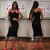 Платье тм Enneli размер S M L ткань микромасло цвет черный, т-синий ,белый, фиолетовый, Черный, Л