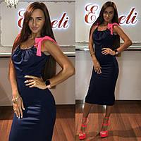 Платье тм Enneli размер S M L ткань микромасло цвет черный, т-синий ,белый, фиолетовый, Темно синий, Л