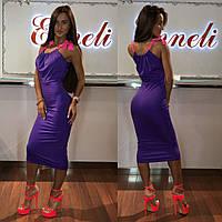 Платье тм Enneli размер S M L ткань микромасло цвет черный, т-синий ,белый, фиолетовый, Фиолет, М