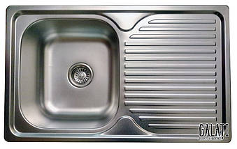 Кухонная врезная мойка из нержавеющей стали (78*48*18 см) Galati Constanta Nova Textură 8488, фото 3