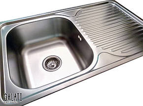 Кухонная врезная мойка из нержавеющей стали (78*48*18 см) Galati Constanta Nova Textură 8488, фото 2