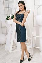 Джинсовое  мини платье с гипюром, фото 3