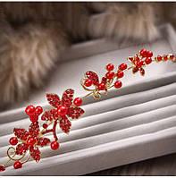 Свадебное украшение тиара красная для волос гребень ДАНА заколка диадема для волос красная
