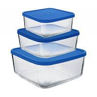 Емкость для продуктов стеклянная с крышкой 3,2 л 220Х220Х90 мм Borgonovo 140069401
