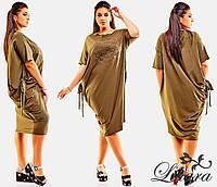 Женское трикотажное летнее платье-мешок размер 50-56