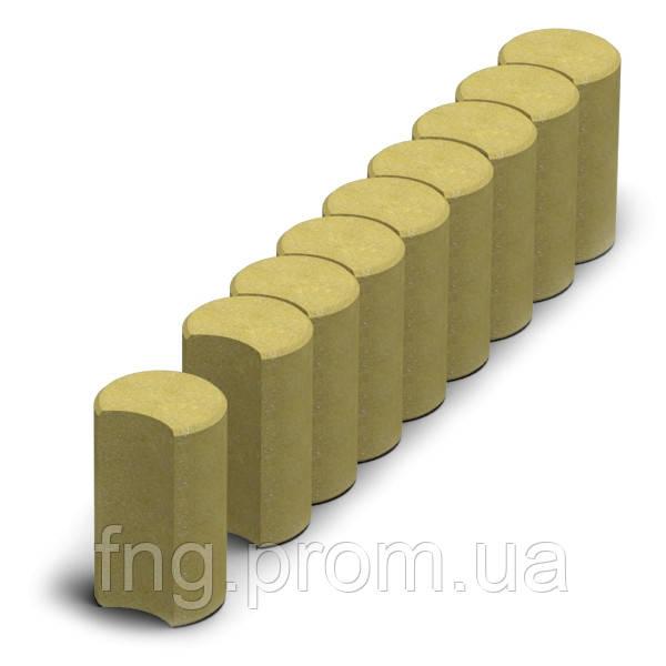ЗОЛОТОЙ МАНДАРИН Поребрик фигурный круглый 500х80х250 мм горчичный на сером цементе
