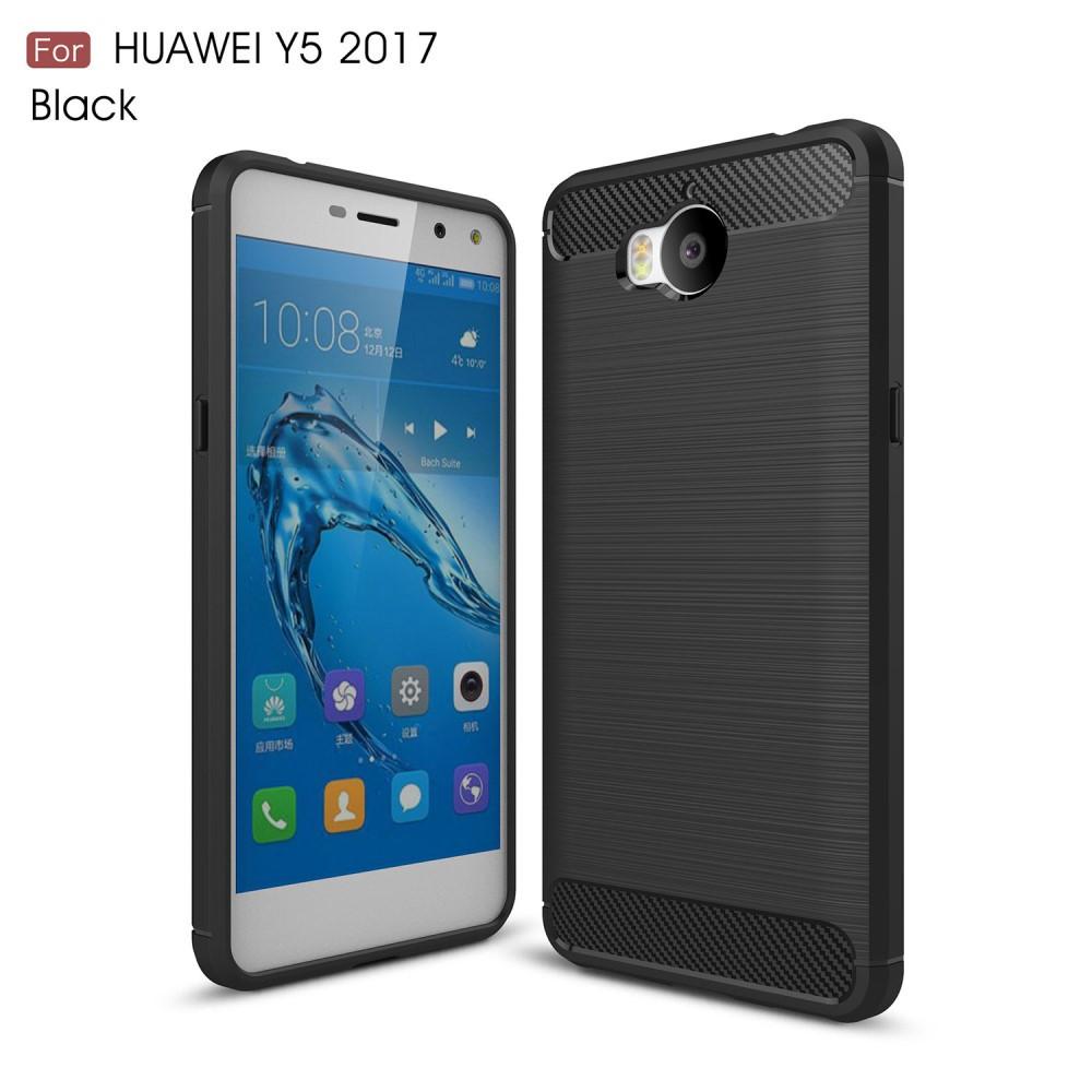 Чехол накладка TPU Fiber Carbon для Huawei Y5 2017 черный