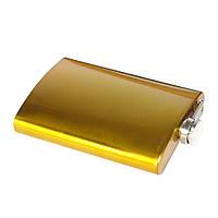 Металлическая фляга под гравировку желтая, фото 1