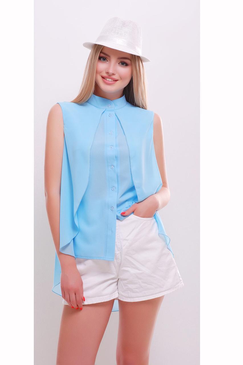 Женская летняя блуза с удлиненной спинкой голубая