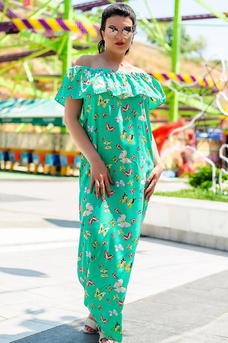 """Длинное платье """"Венера принт"""" зеленое"""