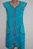 Трикотажный летний халат на замке M, L, XL, XXL, XXXL голубой, фото 1