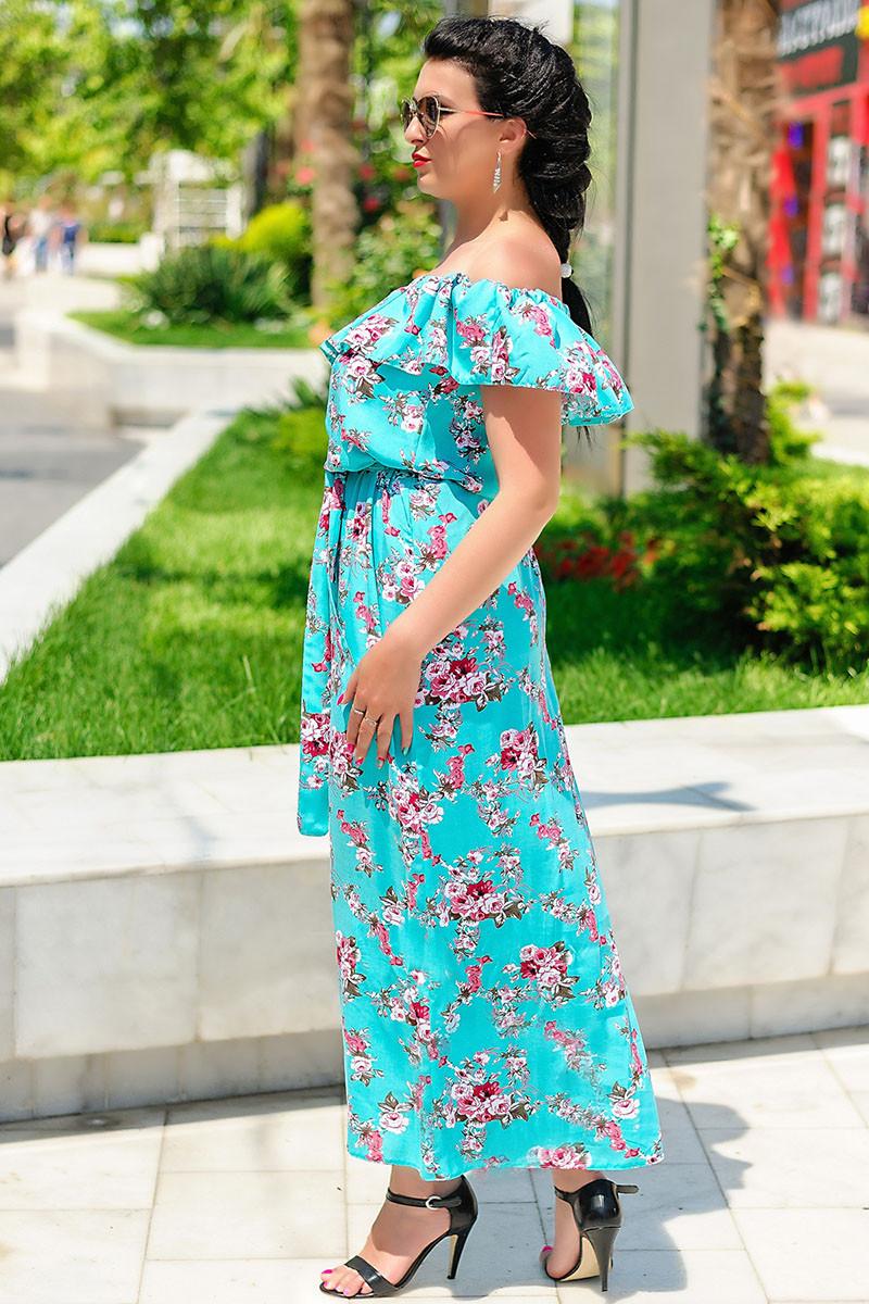 """Летнее длинное платье """"Венера принт"""", ментол"""