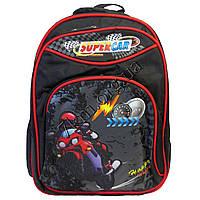 """Рюкзак детский школьный для мальчиков """"SuperCar"""" 40*30 черный +красный"""