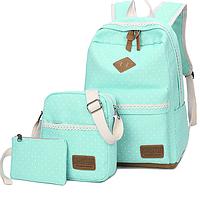 Школьный рюкзак в мелкий горошек 3 в 1 мятный
