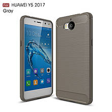 Чехол накладка TPU Fiber Carbon для Huawei Y5 2017 серый