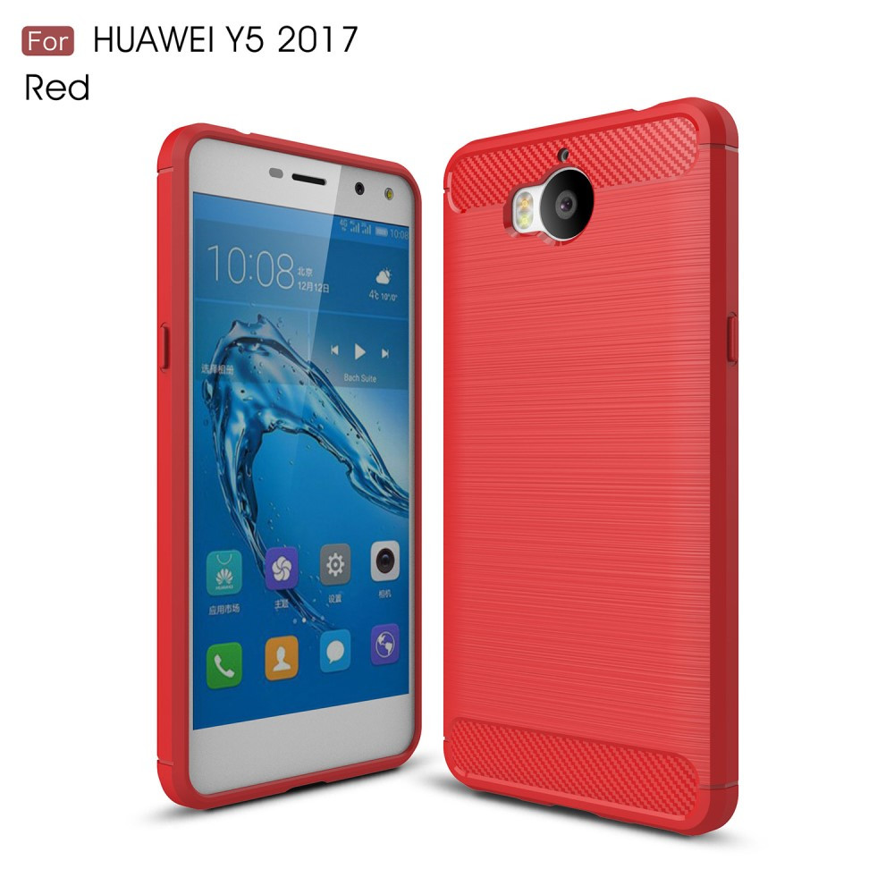 Чехол накладка TPU Fiber Carbon для Huawei Y5 2017 красный