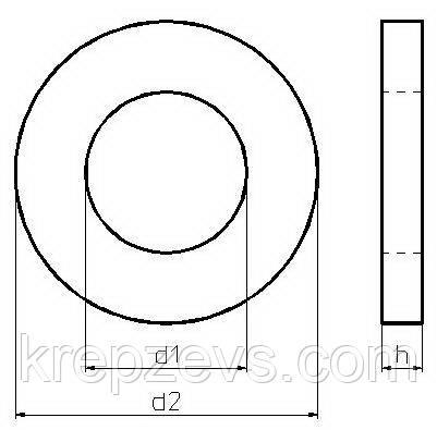 Схема габаритных и присоединительных размеров шайбы DIN 433