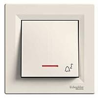 """Выключатель - кнопка """"Звонок"""" с подсветкой Schneider Electric Asfora Кремовый (EPH1700123)"""