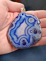 Кулон серебряный с агатом  друза синяя