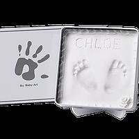 Магическая коробочка Baby Art Квадратная бело-серая