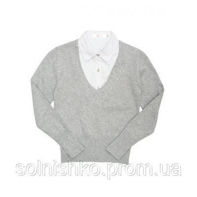 dbef0682015 Джемпер - обманка школьная для девочки Джемпер - обманка школьная для  девочки 60393 серый93 серый -
