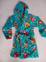 Детский махровый халат с капюшоном. рост. 92-122.три цвета