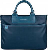 Женская функциональная сумка с чехлом для ноутбука из текстиля+кожа Piquadro AKI/Blue, CA1618AK_AV синий
