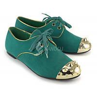 Туфли закрытые с шипами женские зеленые Green light, Зеленый, 38