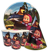 """Набор для детского Дня Рождения """" Маша и медведь"""" Тарелки -10 шт. Стаканчики - 10 шт. Колпачки - 10 шт."""