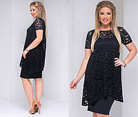 Платье женское чёрное с гипюровой накидкой ТК/-2048