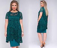 Платье женское зелёное с гипюровой накидкой ТК/-2048