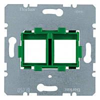 """Опорная пластина для модульных разъёмов 2 поста с """"Зеленой"""" вставкой Berker (454104)"""