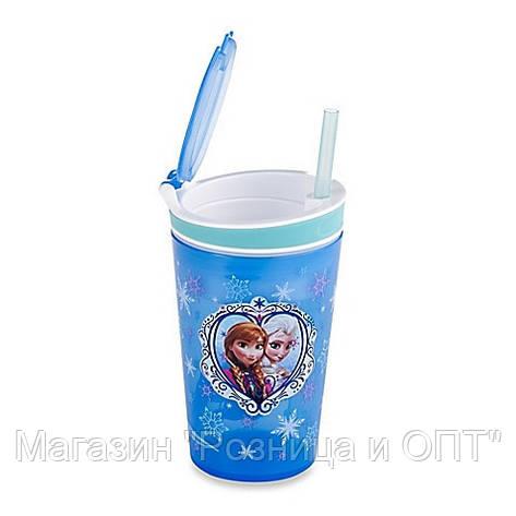 Стакан непроливайка-контейнер 2 в 1 с трубочкой Frozen Disney!Акция, фото 2