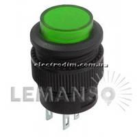 Кнопка Lemanso LSW13 круглая зелёная с LED подсв. ON-OFF/ R16-503AD