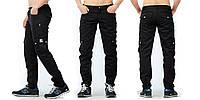 Стильные летние штаны чинос Cargo Pants черного цвета с подворотами