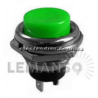 Кнопка Lemanso LSW14 круглая зелёная металл OFF-(ON)/ DS-212